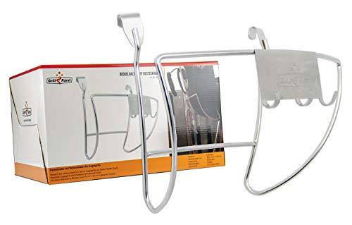 Grillfürst Deckelhalter - Grilldeckelhalter - Deckelhalterung mit Besteckhalter für 57cm Kugelgrills, Holzkohlegrills