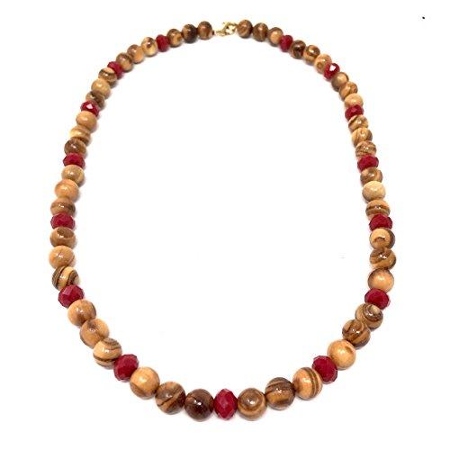 Collana con perle in vero legno d'ulivo e perle artificiali rosse - fatte a mano - gioielli in legno - gioielli in legno d'ulivo