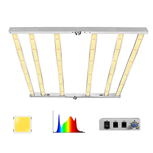 MARS HYDRO LED Grow Light 4x4ft FC4800 with Samsung LM301B Diodes 2016pcs UV IR Full Spectrum Commercial, 6 Bars 480W Grow Lights Lamp Dimmable Daisy Chain 2.8 umol/J, Foldable Free Installation