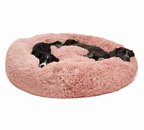 HIGHKAS Premium großes Hundebett mit abnehmbarem Kissen, Donut Cuddler Nest Warmes Hundekissen Haustierbett für großes extra großes Haustier, Winter Zwinger, W.