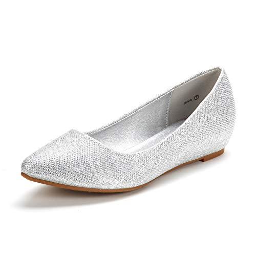 DREAM PAIRS Women's Jilian Silver Glitter Low Wedge Flats Shoes - 11 M US