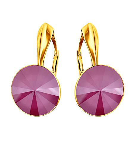 * Beforya Paris* Rivoli – 'Rainbow Glow' – splendidi orecchini – Peony Pink – Argento 925 placcato oro 24 K – Splendidi orecchini da donna con cristalli Swarovski Elements.