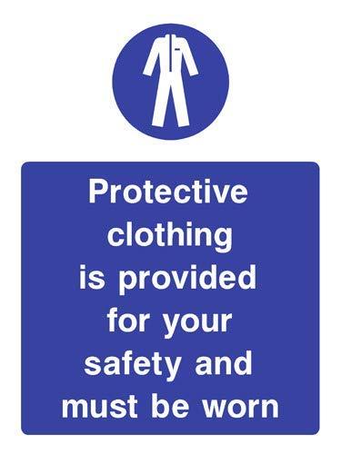 Warnschild mit Schutzkleidung für Ihre Sicherheit (englischsprachig), Vinyl, selbstklebend, 21 x 29,7 cm