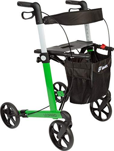 FabaCare Premium Rollator Set Leopard, Aluminium, Grün, faltbar, mit Vollausstattung, Sitzfläche, Rückengurt, Alurollator bis 150 kg, mit FabaCare Sicherheitsreflektoren