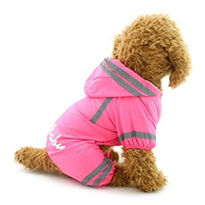 Zunea Small Dog Raincoat Hooded Waterproof Mesh Lined Puppy Slicker Rainwear Doggie Pet Rain Gear/Suit Jacket Jumpsuit Clothing Pink L
