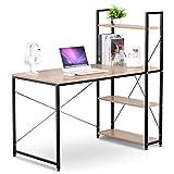 eSituro SCD0030 Table de Bureau Table de Travail Design avec étagère, matière en Bois et Acier