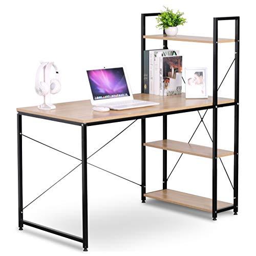 eSituro Mesa de Oficina Escritorio de Ordenador Muebles de Oficina de PC Trabajo de Madera y Acero, con Tres Estante, Aprox. 120x64x120 cm Roble + Negro SCD0030 ✅