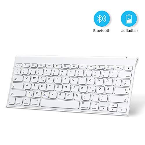 OMOTON aufladbare Bluetooth Tastatur, kabellose Tastatur für iPad 10.2 2019, iPad Pro 11/12.9 (2018/2020), iPad Air 3, iPad Pro 10.5 und andere iOS Gerät, Weiß