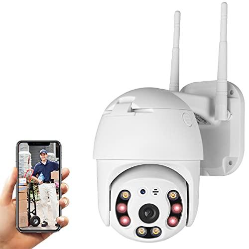 Cámara de Seguridad WiFi Exterior, Aottom 1080P PTZ Camara Vigilancia Exterior, Cámara de Vigilancia, Audio de Dos Vías, Visión Nocturna 40M, Detección de Movimiento, Notificación de Alarma, IP66