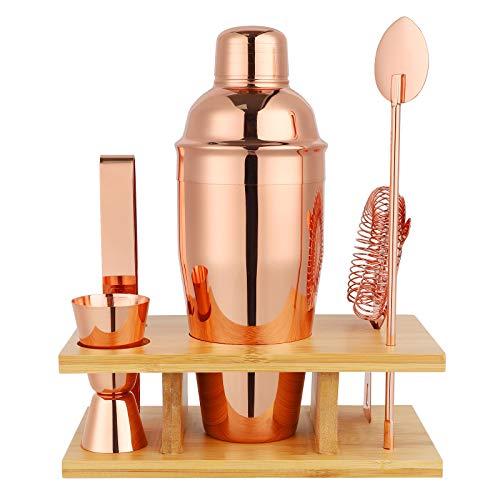 Premium Cocktail Shaker Bartender Kit - 5 Piece Bar Tool Set with Stylish Bamboo Stand, Home Bar Tools Barware, Gift for Christmas, Weddings,...