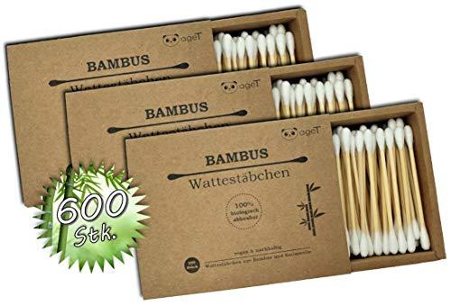 Wattestäbchen aus Bambus & Baumwolle 600 Stk. (3x200 Stk.) 100% biologisch abbaubar, vegan & nachhaltig, plastikfrei, Bambuswattestäbchen, praktische Schiebebox