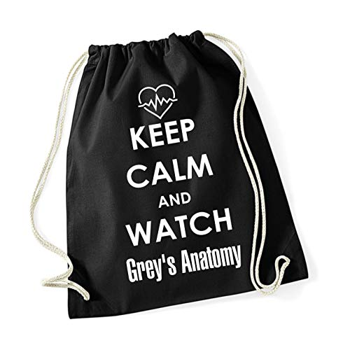 Tachinedas Kreativshop Turnbeutel Rucksack Grey's Anatomy mit Spruch Keep Calm