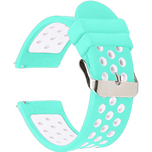 Universal 18mm 20mm 22mm 24mm Width Silicone Watch Band Replacement, Choose Size and Color (20mm, Teal-White)