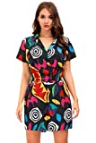 Halloween Womens Short Sleeve Stranger Eleven Costume Button Down Cosplay Colorful Pattern Romper M