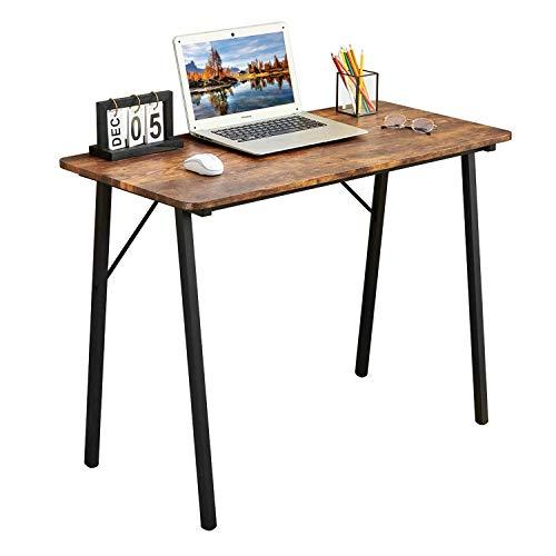 Coavas Scrittura Studio-Scrivania Semplice Computer-Desk Industriale Casa Ufficio Scrivania con Gambe in Metallo per Bambini Studenti Adulti Tavolo in Legno per Bambini Vintage Marrone.