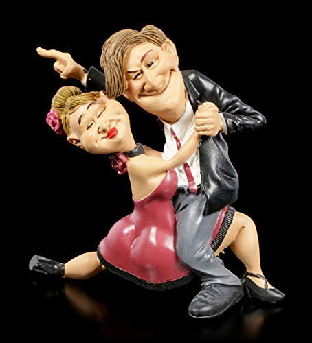 Karrikatur Funny Sports Figur - Tanzpaar mit Siegeswillen | Witzige Dekofigur, handbemalt