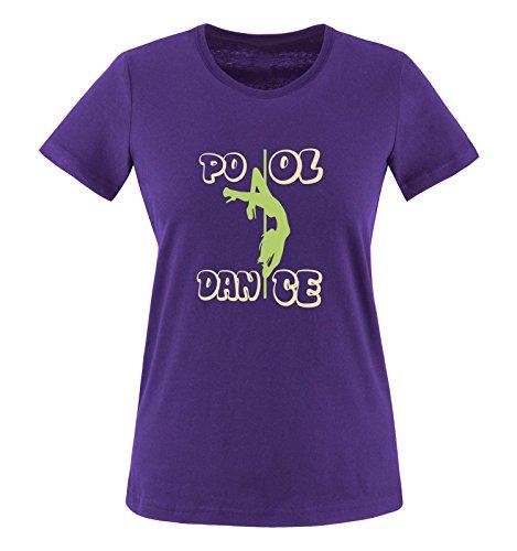Comedy Shirts - Pool Dance - Damen T-Shirt - Lila/Hellgrün-Beige Gr. XS
