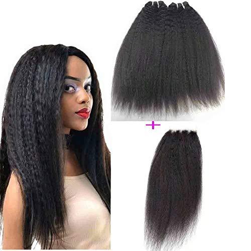 Queengirl Extensions de cheveux humains indiens raides avec fermeture en dentelle - 10 A - 10 x 10 cm - Couleur naturelle (50,8 / 55,9 / 61 cm + fermeture 40,6 cm)