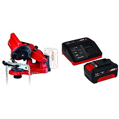 Einhell 4499940 Afilador de cadenas + Power X-Change Kit cargador con batería, tiempo de carga de 60 minutos
