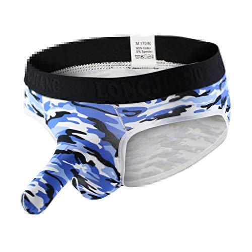 Gusspower Herren Boxershorts, Camouflage Sexy Unterwäsche Shorts Slips Bulge Pouch Unterhosen (Blau, L)