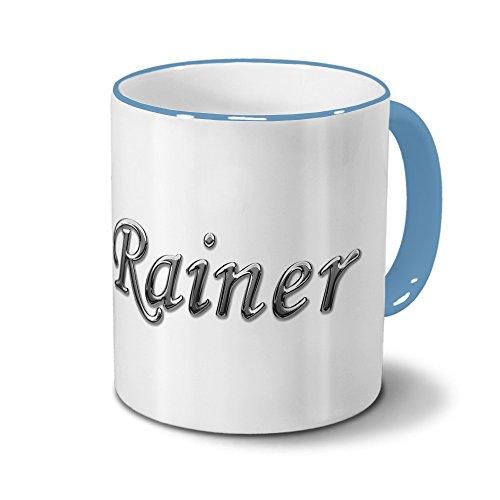 Tasse mit Namen Rainer - Motiv Chrom-Schriftzug - Namenstasse, Kaffeebecher, Mug, Becher, Kaffeetasse - Farbe Hellblau