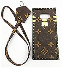 jiehao Samsung Galaxy S8 Case, Vintage Elegant Luxury Designer Monogram PU Leather Back with Lanyard Soft Bumper Shock Absorption Trunk Case Cover Protective Phone Case for Galaxy S8 5.6