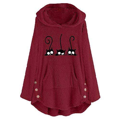 Buby Frauen Hoody Hoodies Pullover Sweater Jumper Langarm Katze Bedruckt Niedlich Lässig Dick Warm Gestrickt Fleece Locker Sitzen Bluse Damen Sweatshirt Kapuze Einfarbig Button Tops mit Känguru-Tasche
