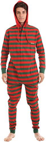 Funzee Erwachsenenstrampler Baumwolle ohne Füsse mit Kapuze 'Elfie' in festlichem Rot-Grün (S für Körpergröße bis 162cm)