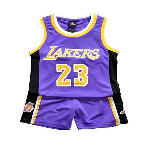 Demino James #23 Laker Jersey, camisetas de niños, pantalones cortos de baloncesto, ropa de baloncesto para hombre, conjunto deportivo para hombre (morado, S (120-130 cm)