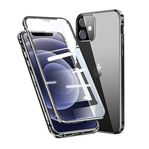 """Jonwelsy Funda para iPhone 12 (6,1""""), Adsorción Magnética Parachoques Metal con 360 Grados Protección Case Cover Transparente Ambos Lados Vidrio Templado Cubierta para iPhone 12 (Negro)"""