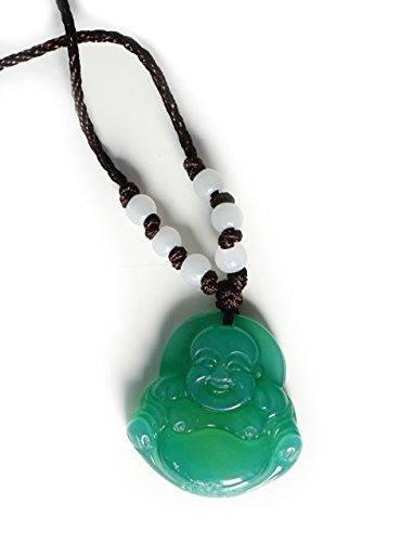Anhänger Aventurin Buddha grün mit Kette und Jade Perlen weiss - Yoga Esoterik Spiritualität Astrologie Meditation Energie