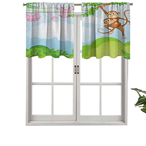 Hiiiman Tenda mantovana con tasca per finestra, tenda a forma di scimmia, per bambini e scimpanzé, set di 2 pezzi, 137,2 x 91,4 cm, per finestra della cucina