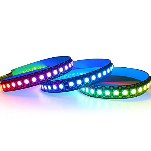 WS2812B Tira de luz LED 5V, Tesfish RGB Pixel Tiras LED 1M 144LEDs/M IP30 Flexible Negro PCB a Todo Color Tira de Luz LED Inteligente para Publicidad, Decoración, Proyectos DIY
