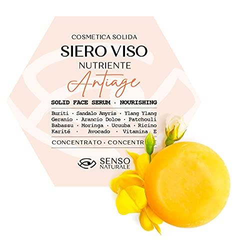 Siero Viso Solido Nutriente ANTIAGE 100% naturale - usalo come crema viso nutriente ricca di Oli Amazzonici e Vitamina E - Maschera tonificante viso notte - Vegano Concentrato (singolo)