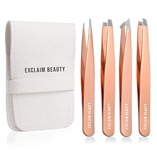 EXCLAIM BEAUTY - Juego de 4 pinzas de acero inoxidable, pinzas de precisión para cejas, astillas, depilación encarnada, kit de...