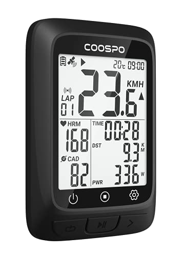 COOSPO GPS Bike Computer Bluetooth ANT+, Wireless Cycling Computers Work with ANT+ HR/Cadence Speed Sensor, Bike Speedometer with IP67 2.3 inch HD Screen Multifunctional Compatible with CoospoRide APP