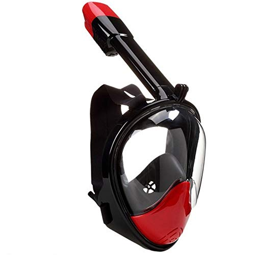 HOUJHUR Máscara de esnórquel Facial Máscara de esnórquel 181 ° Vista Grande Dry Top de fácil respiración Conjunto antiniebla for Adultos Jóvenes (Color : Rojo)