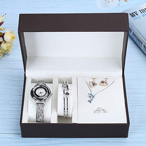 Pendientes, anillo, collar, collares, juego de regalo de joyería de alta calidad, reloj, pendientes, pulsera, uso festivo para niñas, novias(Silver)