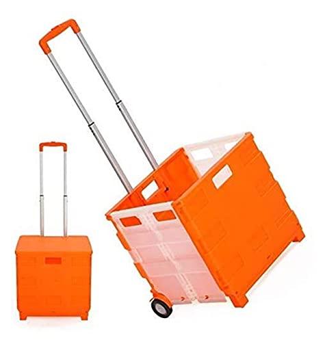 Carrito plegable cómodo de compras Carrito de compras con ruedas Carrera de mano plegable de ruedas Cajas de comida para la oficina para el archivo Oficina de viaje (Color: Naranja) ( Color : Orange )