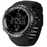 YUINK Men's Digital Sports Watch Stainless Steel watchcase Waterproof Tactical Wrist Watches with LED Backlight Watch (Black)