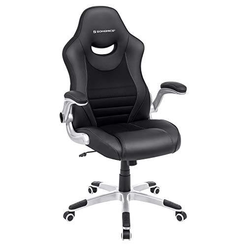 SONGMICS Bürostuhl, ergonomischer Drehstuhl, Rennstuhl mit hochklappbaren Armlehnen, Nylon-Fünf-Sterne-Basis, max. Traglast 150 kg, PU, mehrfarbig (schwarz) OBG63BKUK