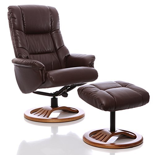 Oriental Leather Co Ltd Sillón The Mandalay - silla giratoria reclinable de cuero y reposapiés a...