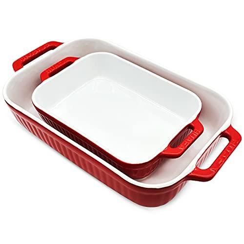 HUAFA Bandeja Horno Rectangular para Horno Cerámica Fuente Horno,para 4-6 porciones, Ideal para Lasaña Pastel Cazuela Tapas,Dimensiones internas:23,5x18x5 cm /33,5x22x7 cm,Rojo