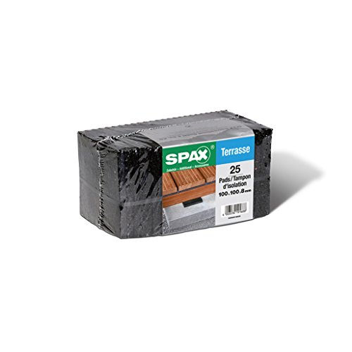 SPAX Terrassenpads – Pads 100 x 100 x 8 mm schwarz aus Gummigranulat für den Terrassenbau, 25 Stück – 5000009186609