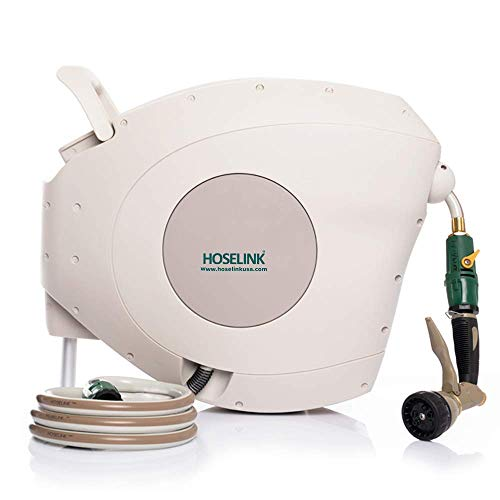 HOSELINK Automatic Retractable Garden Hose Reel with 7-Function Spray Gun, The Complete Watering Solution for Backyard, Garden, and Outdoor Areas, 82-Feet