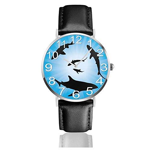 Reloj de Pulsera Sharks Crowed Under Sea Durable PU Correa de Cuero Relojes de Negocios de Cuarzo Reloj de Pulsera Informal Unisex