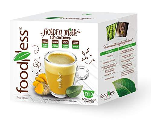 FoodNess - Capsula golden milk compatibile Dolce Gusto senza lattosio e glutine a base di latte di cocco con curcuma e pepe (3 box Tot. 30 capsule)