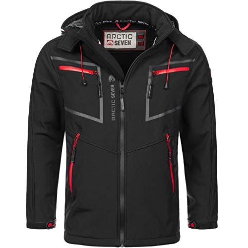 Arctic Seven Herren Designer Softshell Funktions Outdoor Regen Jacke Sport AS088 [AS-088-Schwarz-Gr.3XL]