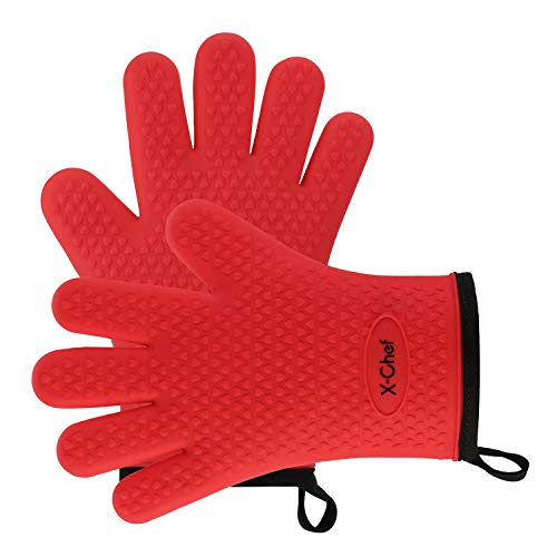 Silicone Gloves, X-Chef Heat Resistant Oven Mitts BBQ Gloves for Cooking Baking Barbecue Potholder