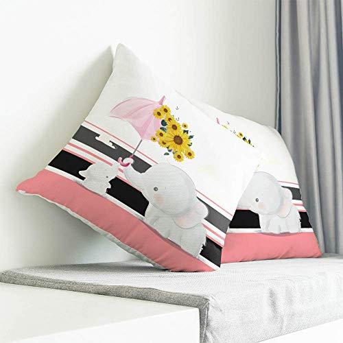 Funda de cojín para mamá y bebé, diseño de elefante, para decoración del hogar, sala de estar, dormitorio, sofá, sofá, paraguas rosa con girasoles